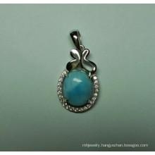 Natural Larimar Sterling Silver Pendant (P0337)