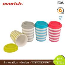 Everich Tazones de porcelana de pared doble y taza de café de cerámica con tapa de silicona