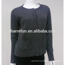suéter de la rebeca pura de la cachemira de las mujeres hechas punto al por mayor del punto