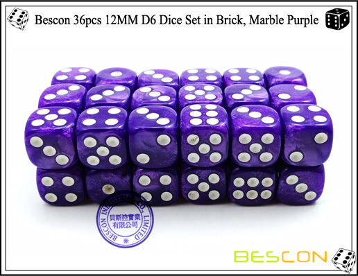 Bescon 36pcs 12MM D6 Dice Set in Brick, Marble Purple-3