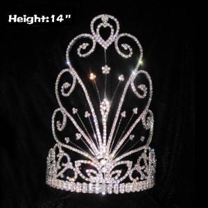 Coronas de máscara de desfile de diamantes de imitación al por mayor de 14 pulgadas