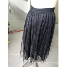 Falda plisada pura de las señoras de la moda del hilado