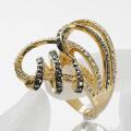 18K Gold Plated Ring Nickel Free Golden Plating crystal Rhinestone woman finger rings