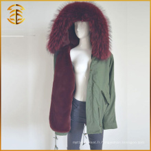 Le plus récent design Real Real Raccoon Fox Women Winter Fur Parka