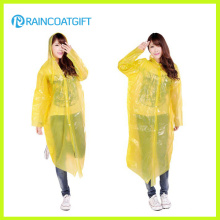 Long Sleeve Yellow PE Women′s Raincoat