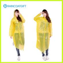 Capa de chuva plástica descartável clara das mulheres com luva