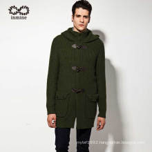 Factory Acrylic Nylon Wool Alpaca Hooded Knit Men Sweater Coat