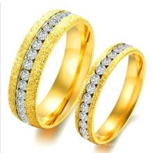 Mais recente Design CZ Diamante Casal Anel de Noivado, Baixo Preço Gemstone Arábia Saudita Ouro Broca Anel de Casamento Set