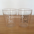"Tasse à thé en verre transparent ""GOOD TIME"""