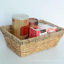 Cesta de almacenamiento de jacinto de agua rectangular