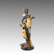 Grande sculpture en chasse de la sculpture en bronze de la déesse, a. Carrier Tpls-005