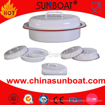 Sunboat Chicken Dish Oven Baking Plate Enamel Roaster