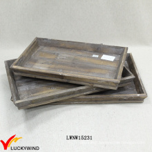 Vintage Filing Wooden Decorative Set of 3 Tray for Home