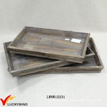 Vintage arquivamento madeira decorativas conjunto de 3 bandejas para casa