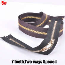 5# Two-Way Open-End, Y Teeth, Golden Brass Zipper