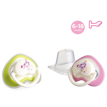Flat 2 Color Heart Shape Baby Silicone Pacifier