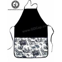 Delantal blanco negro de encargo del algodón de la impresión para la promoción o el regalo