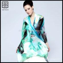 Мода шелковый цифровой печати леди шарф