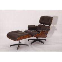 Chaise longue en cuir Rosewood Eames et pouf