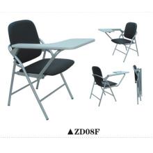 Chaise pliante en tissu noir avec tablette