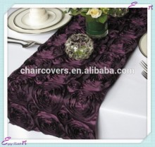 YHR#06 rosette satin banquet wedding wholesale table runner cloth overlay linens