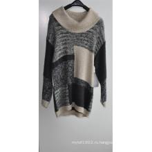 Зимний женщин с длинным рукавом узорный вязать Fit свитер