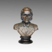 Bustes Statue Musicien Chopin Bronze Sculpture TPE-620