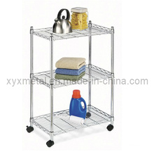 3 Tiers Metal Wire Stand Rolling Shelf Shelving Display Rack