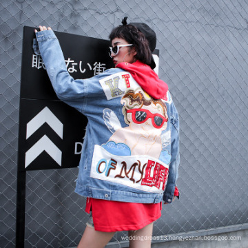 Amazon hot style embroidered denim jacket long-sleeved hip hop jacket sequined ripped denim women coat