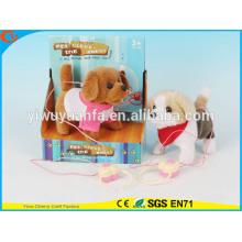 Hot Sell Kids 'Toy Beautiful Walking Electric Skip Plush Cão cinzento