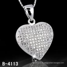 Neue Stile 925 Sterling Silber Micro Einstellung Herzform Anhänger