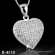 New Styles 925 Sterling Silver Micro Setting Heart Shape Pendant