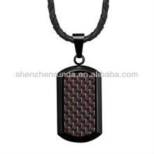 Alto, polaco, pretas, cão, tag, pendant, vermelho, carbono, fibra, genuíno, couro, colar
