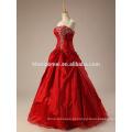 2017 nova alta qualidade fora do ombro vestido de noiva de renda vermelha com diamante