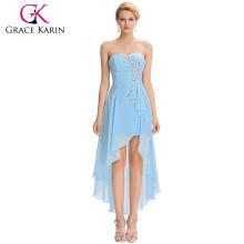 Grace Karin 2016 nuevo diseño sin tirantes de alta baja cequis Sky Blue vestido de cóctel de gasa GK000042-3
