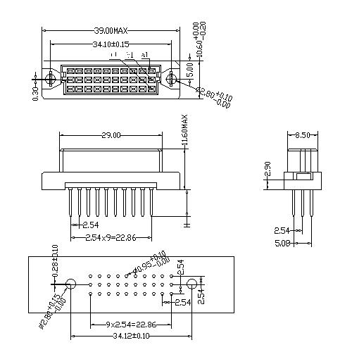 DFS-XX-XXX-318 DIN 41612 Vertical Female Type 0.33C Connectors 30 Positions