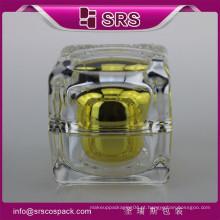 HIgh Qulity Transparente Suqare Forma Ouro Beleza Frasco Creme Plástico E 10g 15g 30g 50g Acrílico Square Container