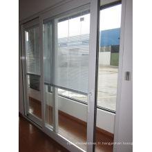 Porte coulissante en aluminium à double ouverture