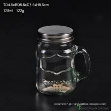 Handle Estilo Glass Cock Mason Jar com Strew e tampa de metal, galo Handle Glass Jar