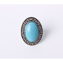 Fashion Jewelry Ring Antique Rhodium Plated with Blue Stone