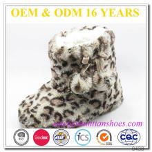Moda de leopardo impressão de pelúcia com lã quente alinhado miúdos indoor neve botas