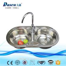 DS8545B Lowes Bathroom Vanities Lavabo de plástico Lavabo Kitchen Factory 304 SS Double Bowl Lavabo de lavado