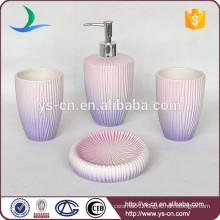 Beautiful Purple Gradient Embossed Ceramic 4pc Bathroom Set