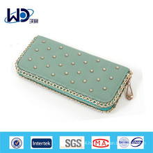 Metal rivet long wallet for ladies