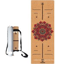 Yugland best selling eco friendly custom print mat cork natural rubber premium yoga mats for fitness