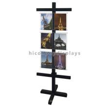Suportes de exposição de madeira dobráveis independentes personalizados para placas de acrílico impressas personalizadas