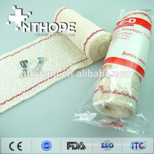 Medical elastic crepe bandage with red thread