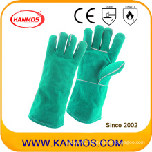 Green Cowhide Split Leather Industrial Safety Welding Hand Work Gloves (111031)