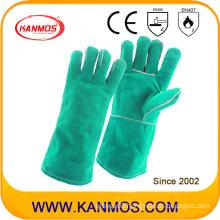 Green Cowhide Split Leather Industrial Safety Welding Hand Work Gloves (111031)