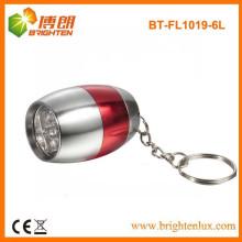 Fabrik Bulk Sale Ei geformt Werbeartikel Günstige 6 LED Aluminium Mini Taschenlampe mit Schlüsselbund